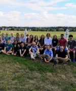 Group picture with the Elbe river in the background