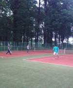Jeff, Jie, Avinash, and Stephen playing badminton