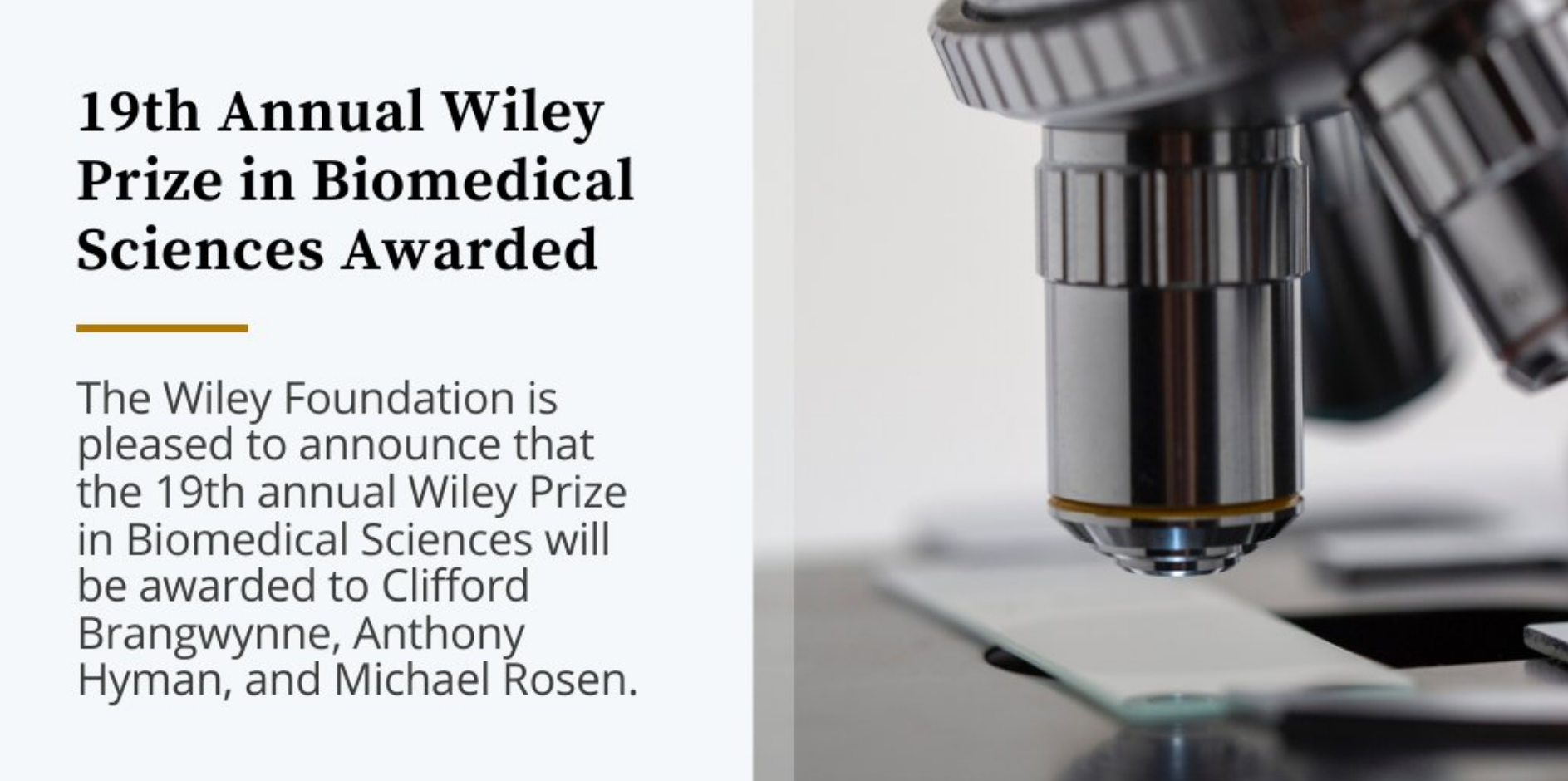 Tony receives 2020 Wiley Prize in Biomolecular Sciences
