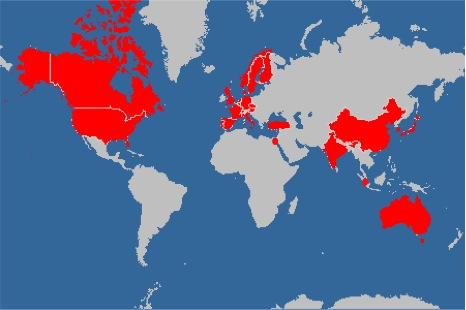 All countries in red have received cell lines from our TransgeneOmics facility