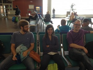 Jeff, Bea, & Olli at the airport, ready to be in Portugal!