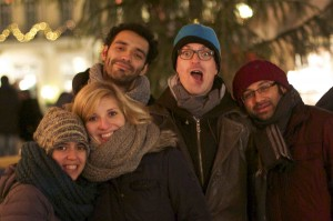Bea, Astrid, Andrés, Olli, and Avinash at the Christmas market